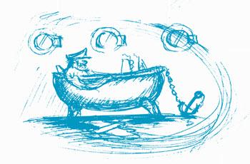Illustration Kapitän in Badewanne klein