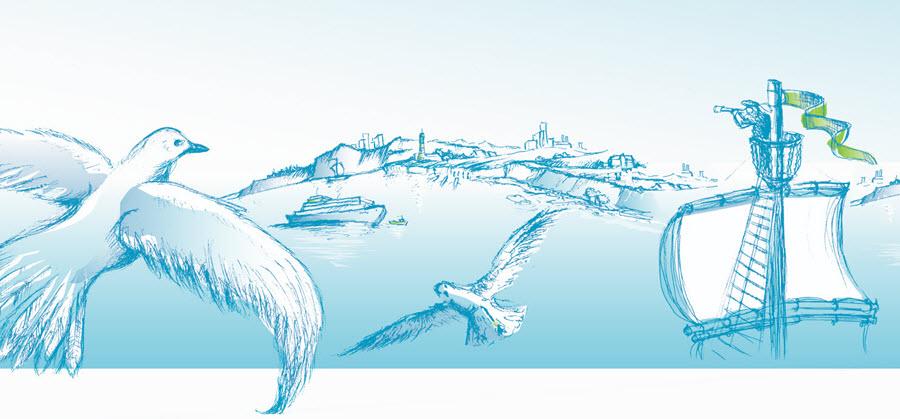 Illustration Möwen und Ausguck