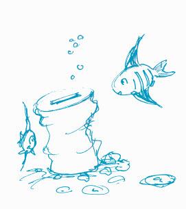 Illustration Spardose unter Wasser