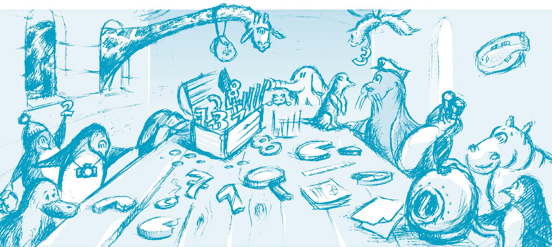 Illustration von Tieren rund um einen Tisch zur Veranschaulichung gemeisnamer Auswertung von Daten